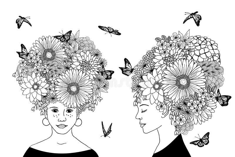 Meninas tiradas mão com cabelo da flor ilustração stock
