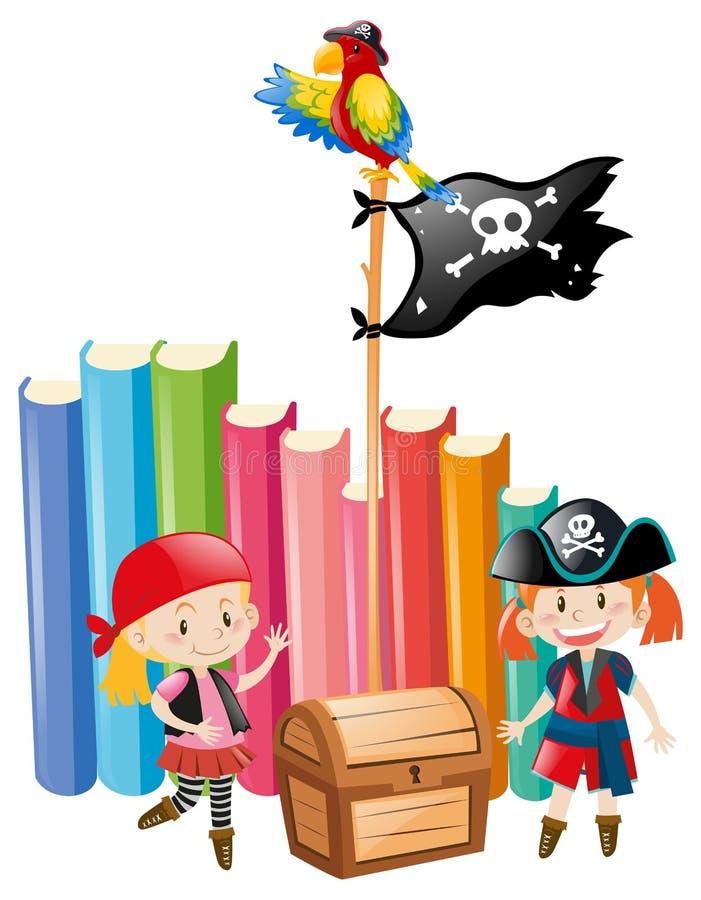 Meninas vestidas acima como dos grupos do pirata ilustração do vetor