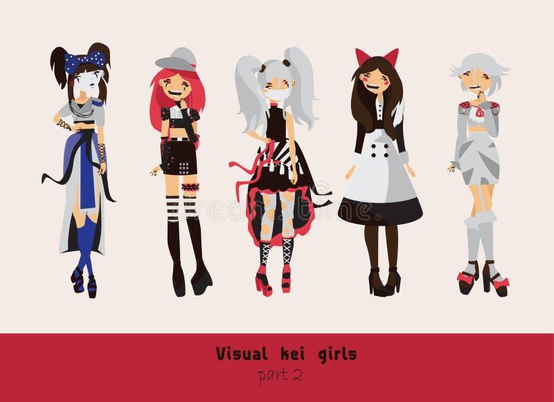 Meninas visuais bonitas do kei Penteados diferentes, emoções, acessórios, levantamento isolados no fundo Coleção criativa com sub ilustração do vetor