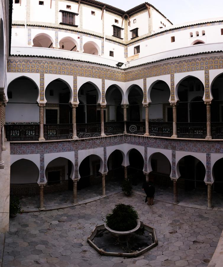 Mening aan Dar Mustapha Pacha Palace, Casbah van Algiers, Algerije stock foto's