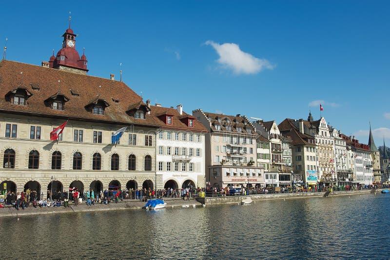 Mening aan de historische gebouwen in Luzerne, Zwitserland royalty-vrije stock afbeeldingen