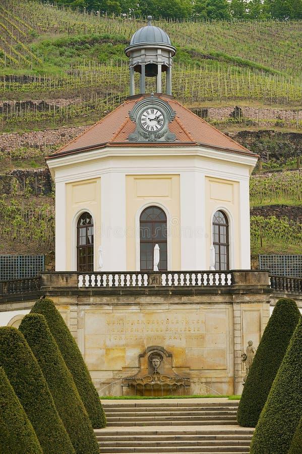 Mening aan het paviljoen in het Wackerbarth-kasteel in Radebeul, Duitsland royalty-vrije stock fotografie