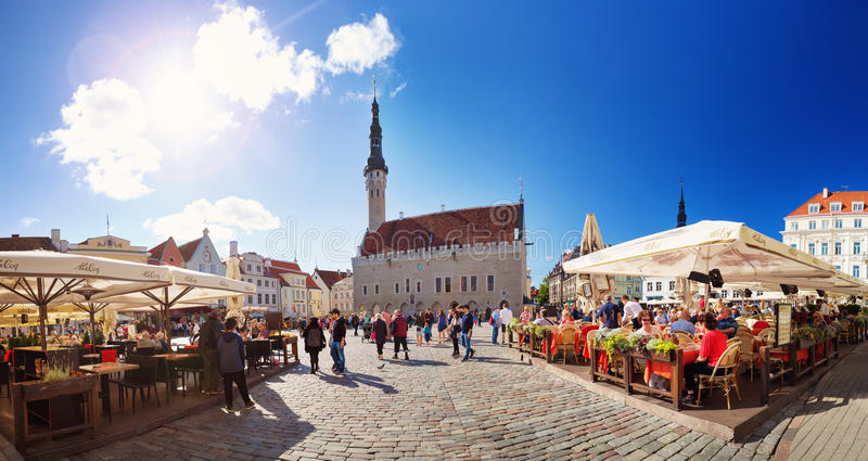 Mening aan het Stadhuis van Tallinn stock foto