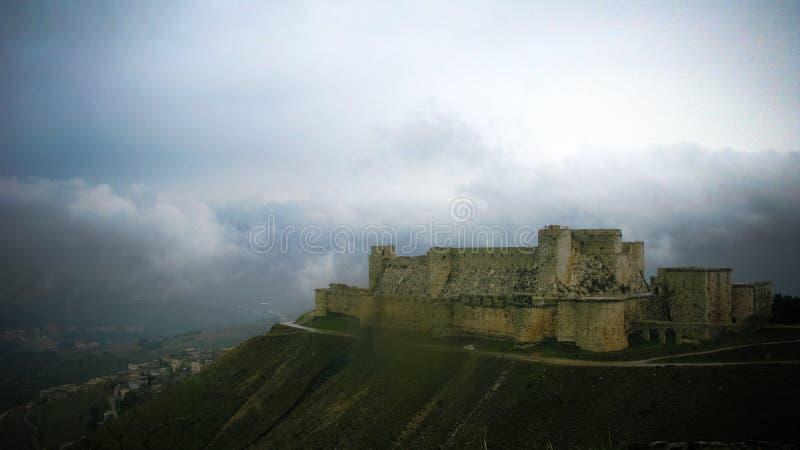 Mening aan Krak des Chevaliers Castle, Syrië royalty-vrije stock afbeeldingen