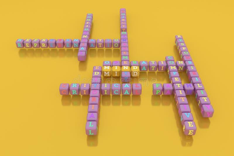 Mening, bedrijfssleutelwoordkruiswoordraadsel Voor webpagina, grafisch ontwerp, textuur of achtergrond stock foto