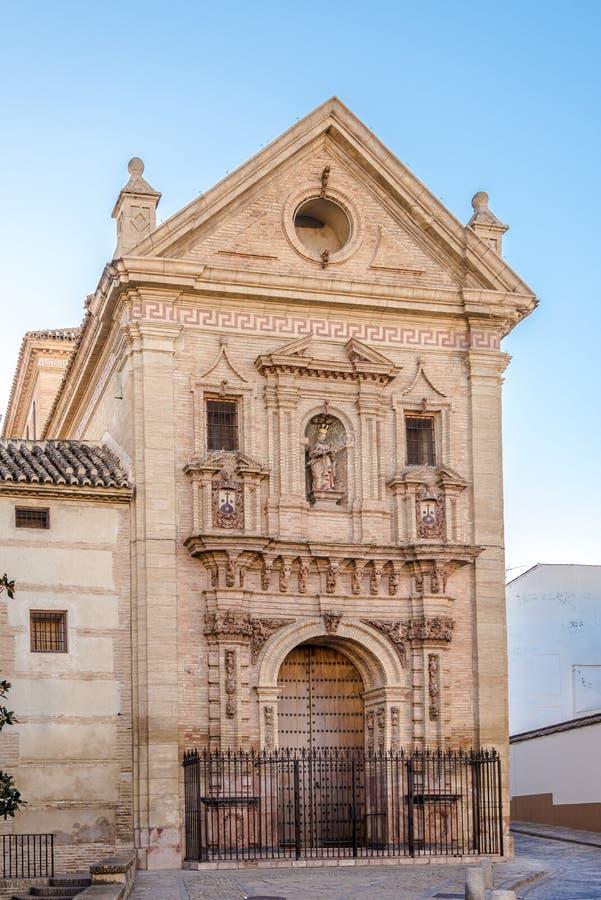 Mening bij de kerk van Carmelitas Descalzas van Antequera - Spanje royalty-vrije stock afbeelding