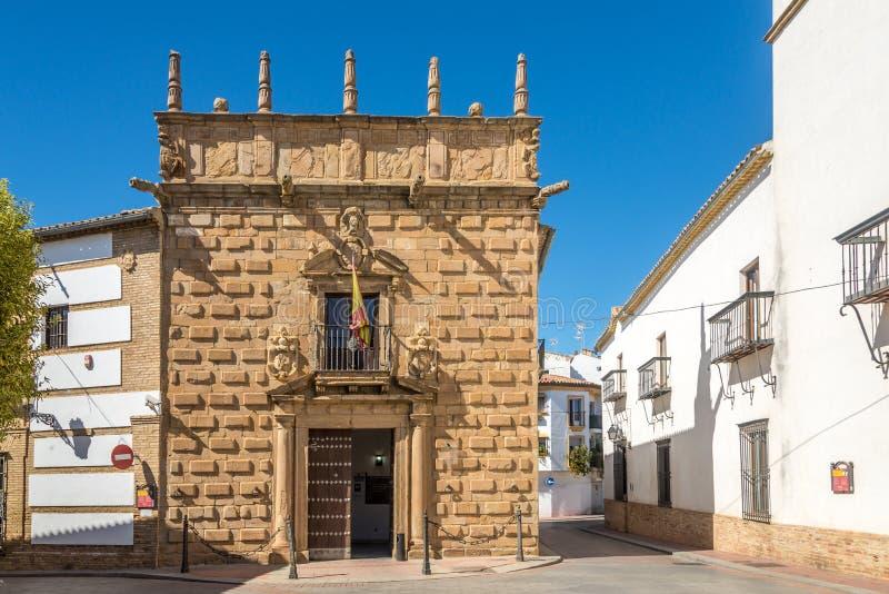 Mening bij het Paleis van Los Perez de Vargas y Gormaz in Andujar - Spanje stock fotografie