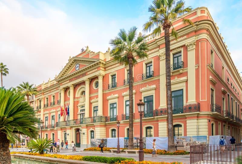 Mening bij het stadhuis van Murcia in Spanje royalty-vrije stock foto's