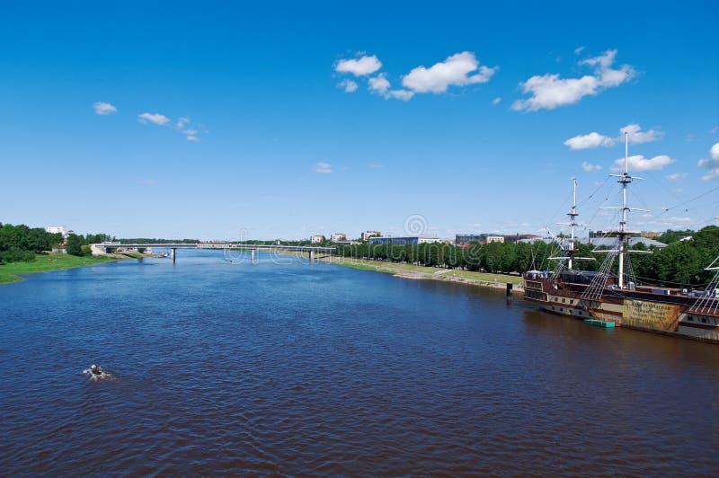 Mening bij rivier Volkhov in Veliky Novgorod stock fotografie