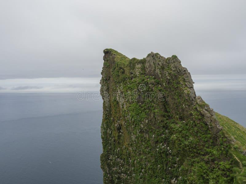 Mening bovenop steile koning en koninginhornbjarg vogelklip in het westen royalty-vrije stock foto's