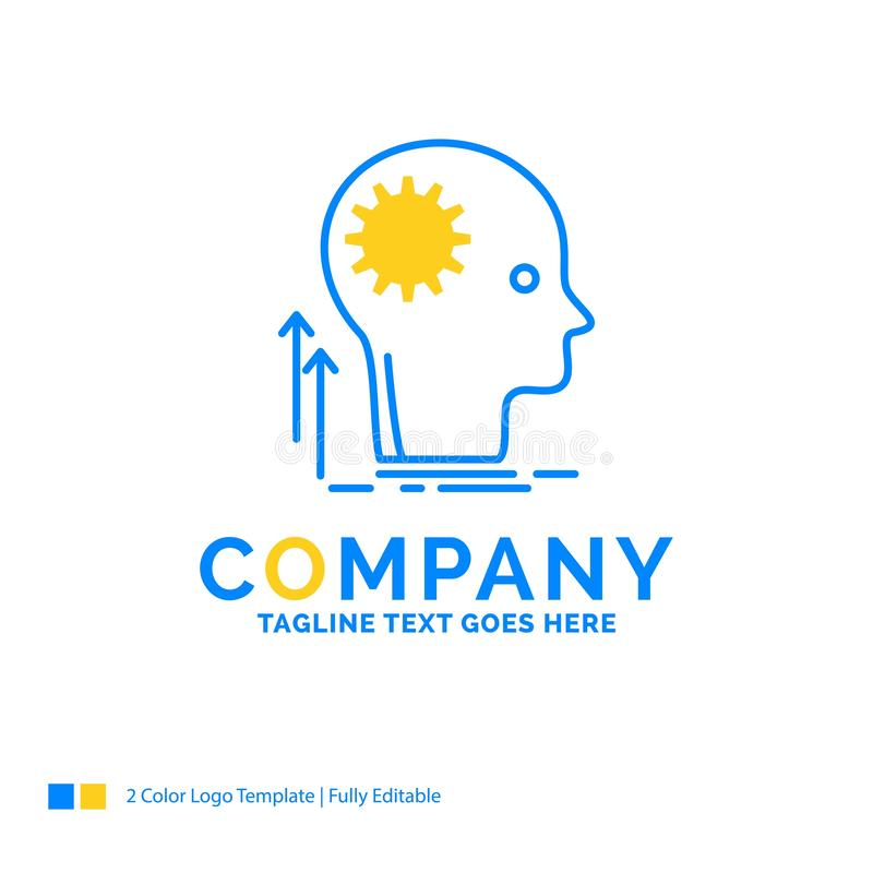 Mening, Creatief, het denken, idee, brainstorming Blauwe Gele Busine royalty-vrije illustratie