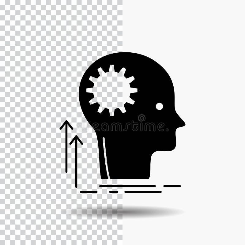 Mening, Creatief, het denken, idee, het Pictogram van brainstormingsglyph op Transparante Achtergrond Zwart pictogram stock illustratie