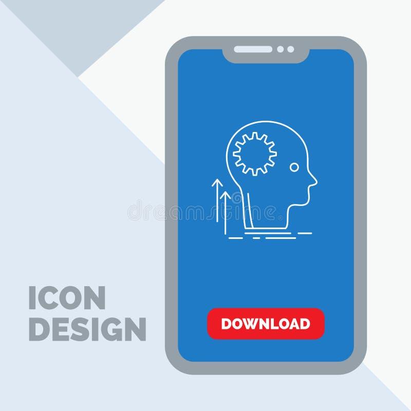 Mening, Creatief, het denken, idee, het Pictogram van de brainstormingslijn in Mobiel voor Downloadpagina royalty-vrije illustratie