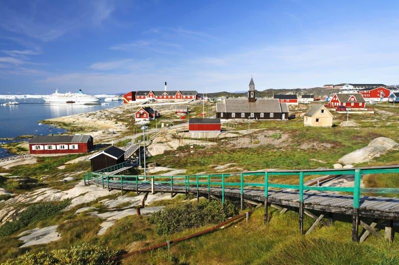 Mening de van de binnenstad van Ilulissat, Groenland stock afbeeldingen