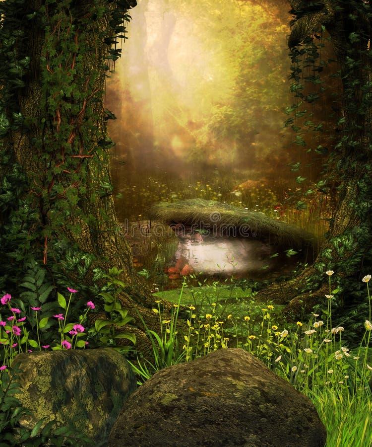 Mening door een donker bos stock afbeeldingen