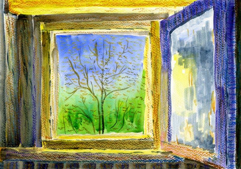 Mening door een open venster aan de zonnige de lentetuin stock illustratie