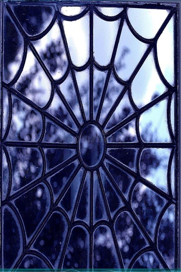 Mening door het Venster van het Glas Staine stock afbeeldingen