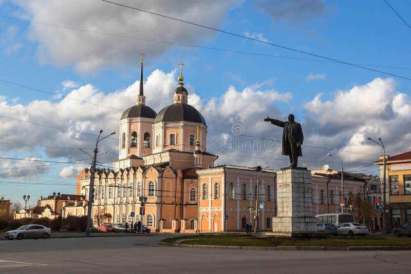 Mening in het centrum van Tomsk, Westelijk Siberië stock afbeeldingen