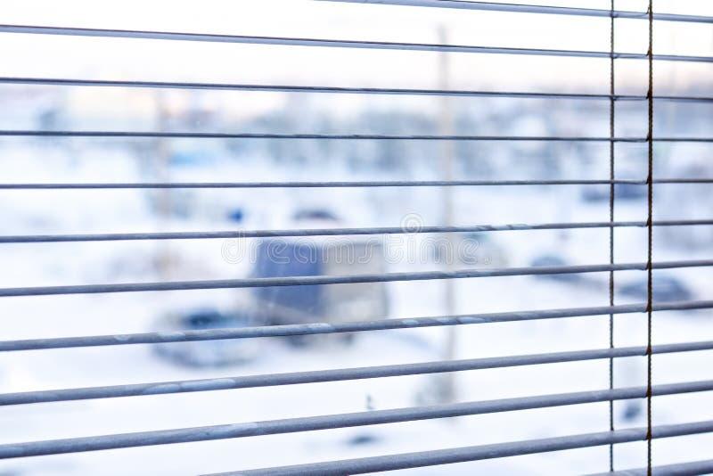 Mening in het venster in de winter royalty-vrije stock foto's