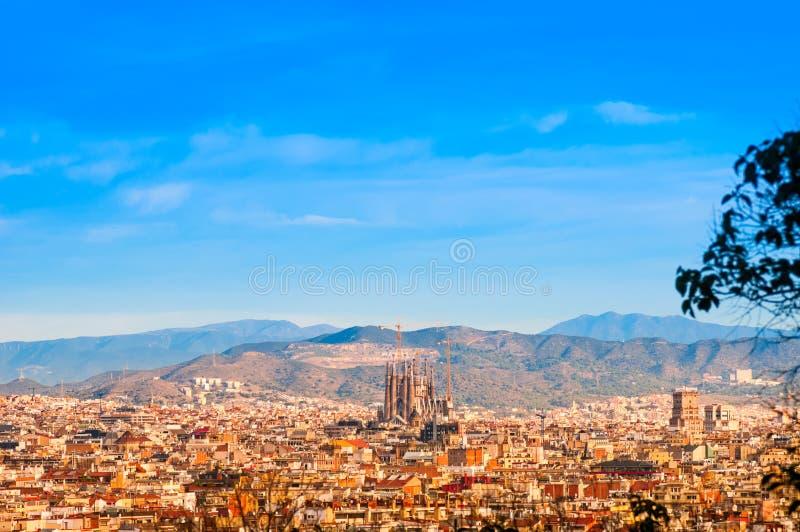 Mening hierboven over Barcelona van Montjuic-heuvel stock foto's