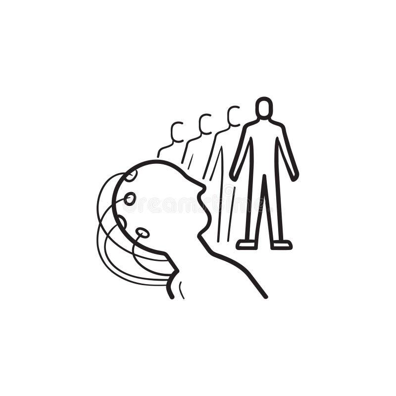 Mening kontrollerad symbol för klotter för översikt för robothand utdragen royaltyfri illustrationer