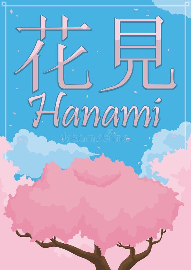 Mening met Cherry Tree, Bos en Hemel in de Lente Hanami, Vectorillustratie royalty-vrije illustratie