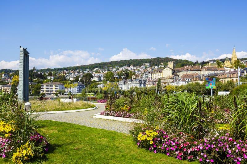 Mening naar de stad van Neuchâtel royalty-vrije stock afbeelding