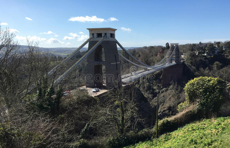 Mening op hoog niveau van Clifton Suspension Bridge stock fotografie