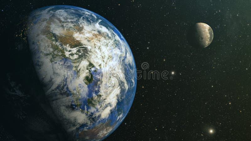 Mening over aarde en maan van ruimte vector illustratie