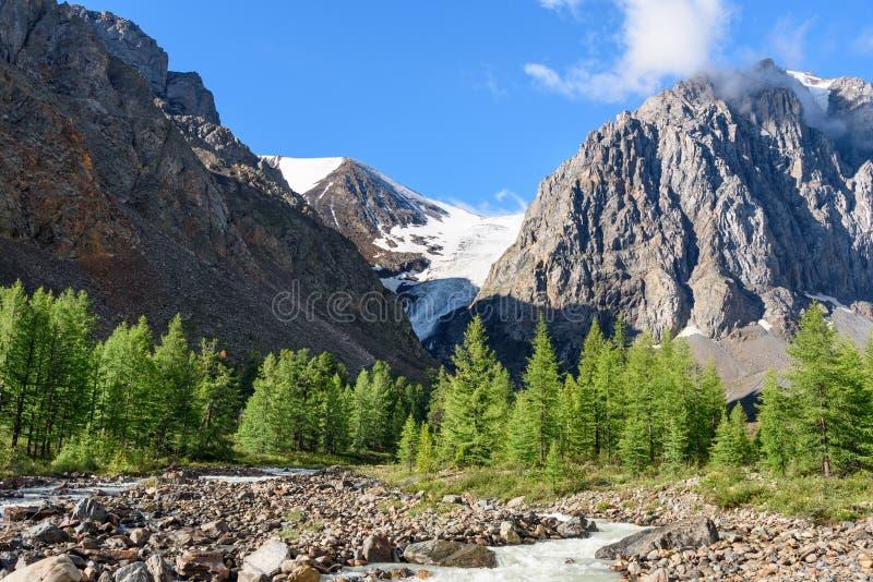 Mening over Aktru-rivier, Karatash-piek en Aktru-gletsjer Altairepubliek Rusland stock fotografie