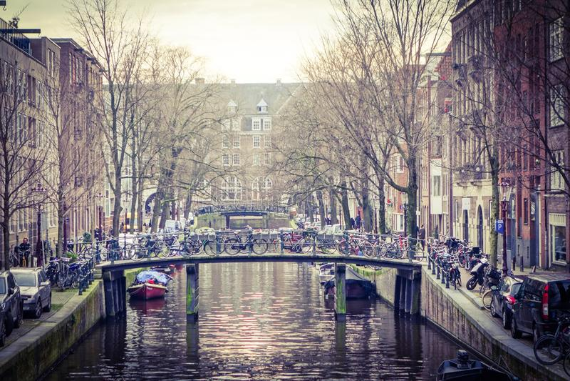 Mening over Amsterdam Holland royalty-vrije stock afbeeldingen