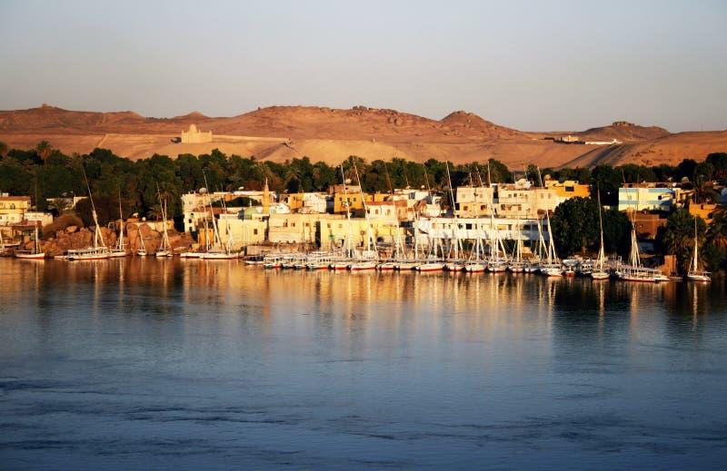 Mening over Aswan, Egypte stock foto's