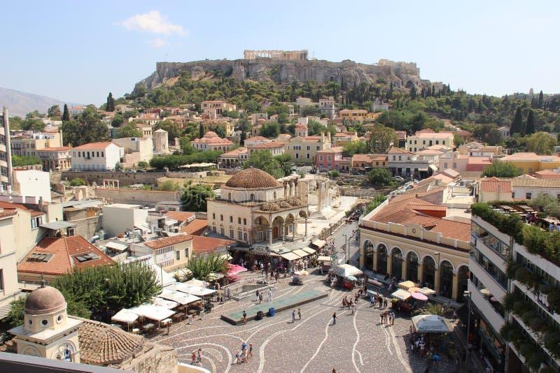 Mening over Athene, Griekenland in Augustus 2016 royalty-vrije stock afbeeldingen