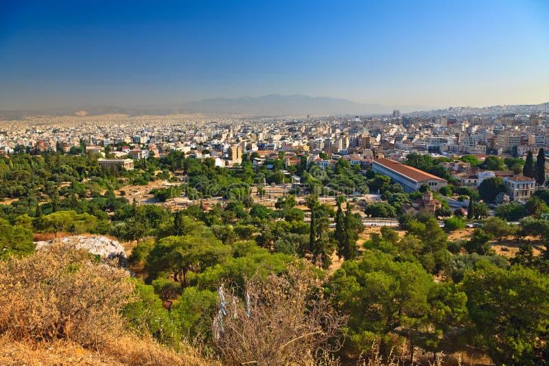 Mening over Athene van Akropolis royalty-vrije stock foto's