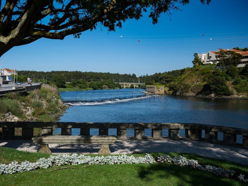 Mening over Averivier het district in van Vila do Conde, Porto, Portugal royalty-vrije stock foto's