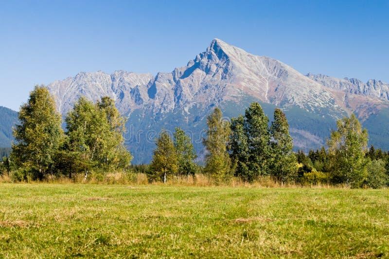 Mening over bergen van Hoge Tatras en piekKrivan stock foto
