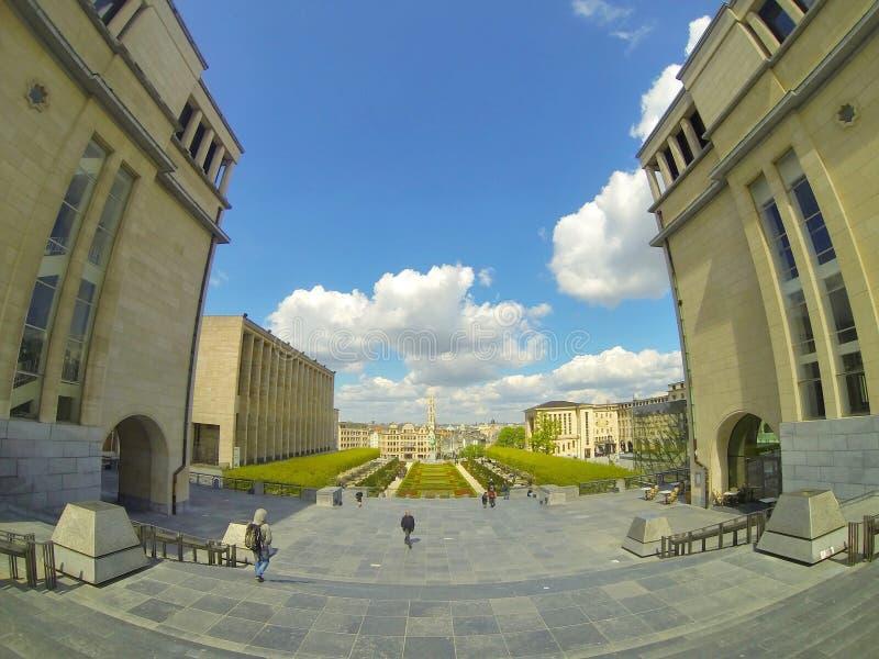 Mening over Brussel vanaf de bovenkant van mont des arts royalty-vrije stock afbeeldingen