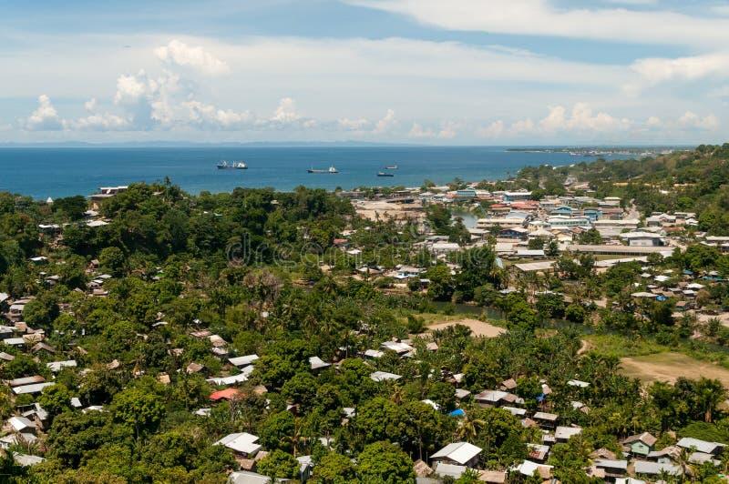 Mening over de Bodemgeluid van Honiara en van het Ijzer, Honiara, Guadalcanal, Solomon Islands royalty-vrije stock foto's