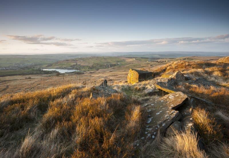 Mening over de heide van Yorkshire royalty-vrije stock afbeeldingen