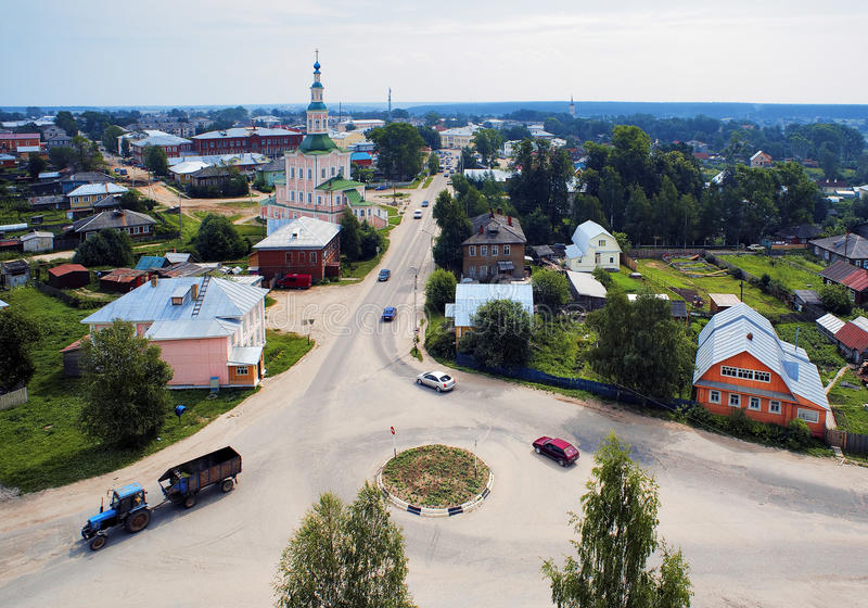 Mening over de oude Russische stad Totma royalty-vrije stock foto