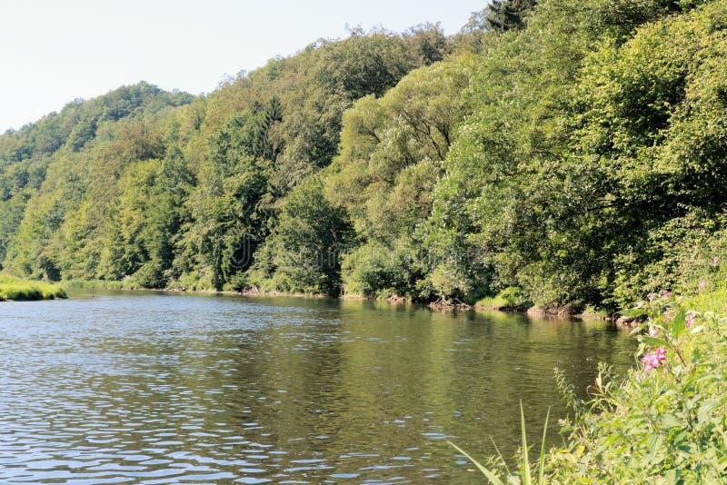 Mening over de rivier Semois, Belgische Ardennen stock afbeelding