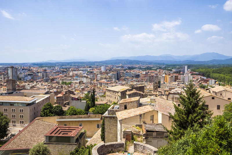 Mening over de stad van Girona royalty-vrije stock afbeeldingen