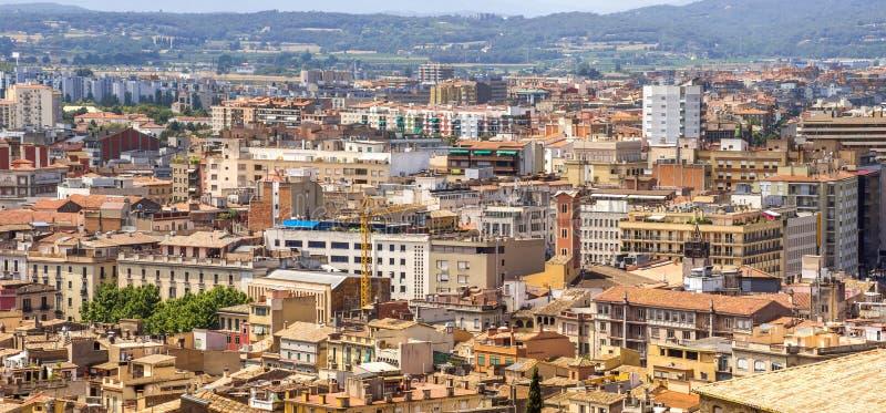 Mening over de stad van Girona stock afbeelding