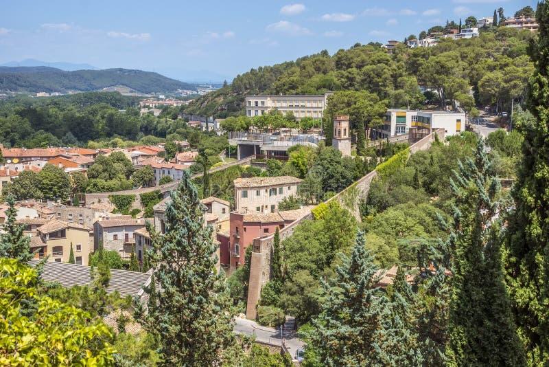 Mening over de stad van Girona stock foto's