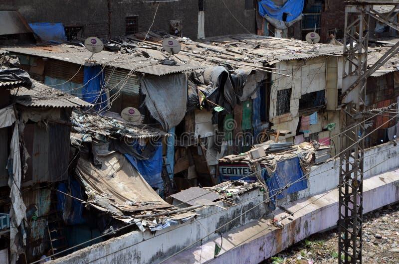 Mening over Dharavi-krottenwijken stock afbeelding