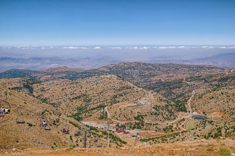 Mening over Golan Heights van Onderstel Hermon, Israël stock foto