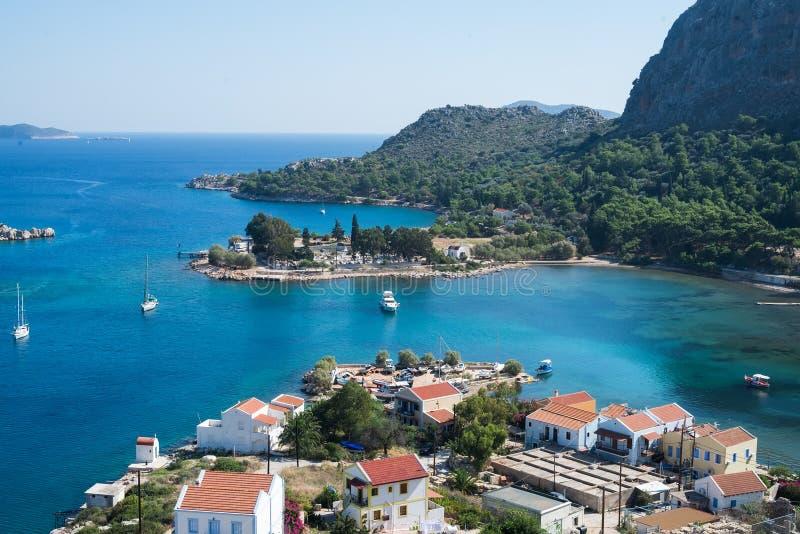 Mening over Griekse eilanden Kastelorizo en het overzees stock foto's