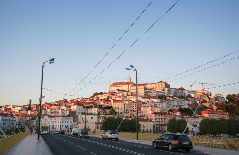 Mening over het centrum van Coimbra, Portugal stock foto's