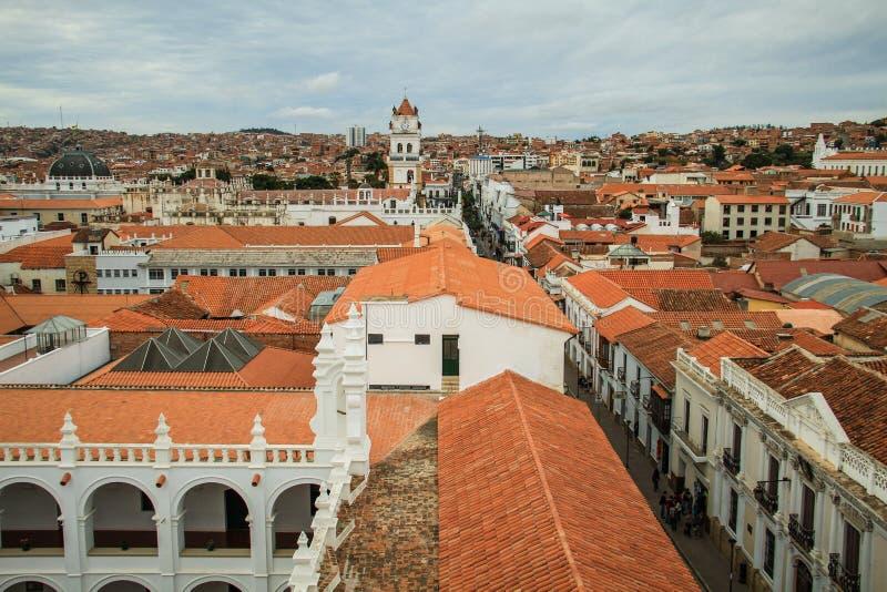 Mening over het dak van Sucre, Oropeza-Provincie, Bolivië royalty-vrije stock fotografie