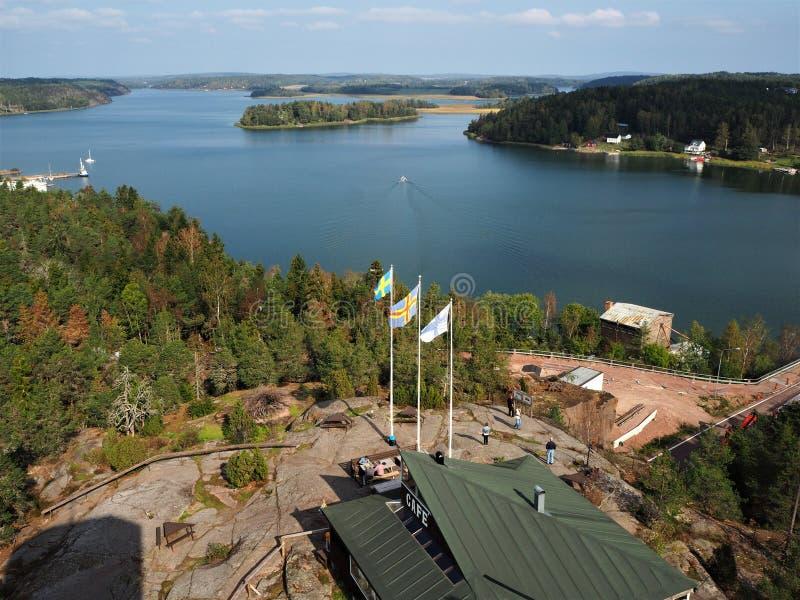 Mening over het Farjsundet-overzeese kanaal, Aland, Finland royalty-vrije stock fotografie